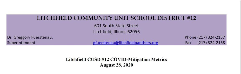 COVID Mitigation Metrics for Litchfield  Schools