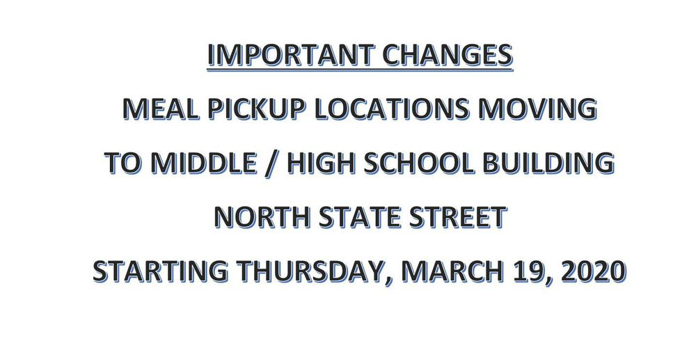 Meal Pickup Moves to Middle / High School Starting Thursday, March 19 2020