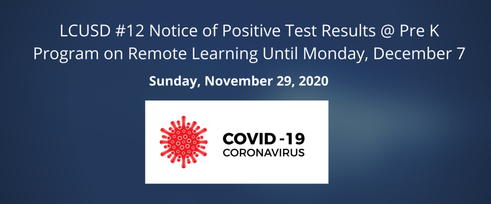 Notice of Postive COVID Test Results @ Pre K - Program on Pause Until Monday, December 7th