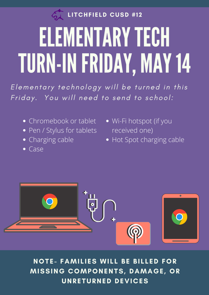Tech Turn in For Elementary Schools  Friday, May 14