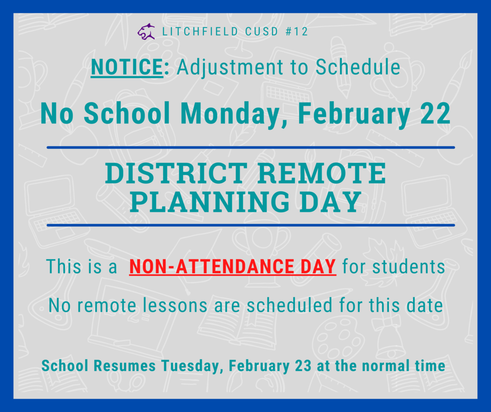 Notice of Change of Schedule for Monday, February 22, 2020