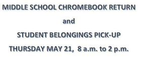 LMS CHROMEBOOK RETURN & STUDENT BELONGINGS PICK-UP