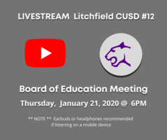 Livestream Board of Education Meeting January 21, 2020 @ 6PM