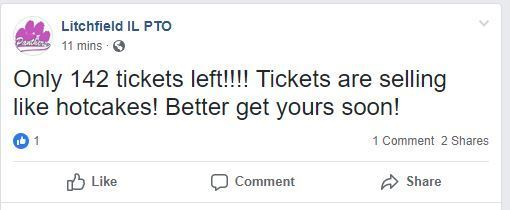 FB post showing remaining tickets for Glo Bingo