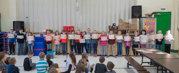 1st Trimester First Grade perfect attendance award winners