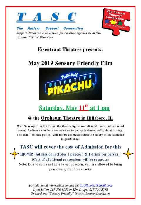 Flyer for May Sensory Film
