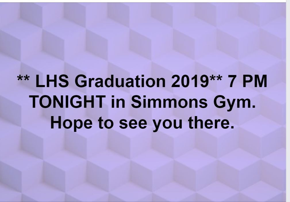 Graduation Tonight in Simmons Gym - Class of 2019