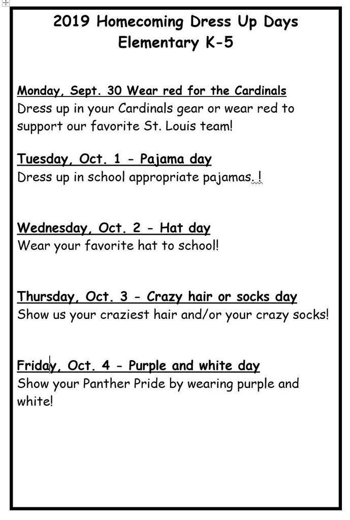 Elementary Dress Up Days for Homecoming