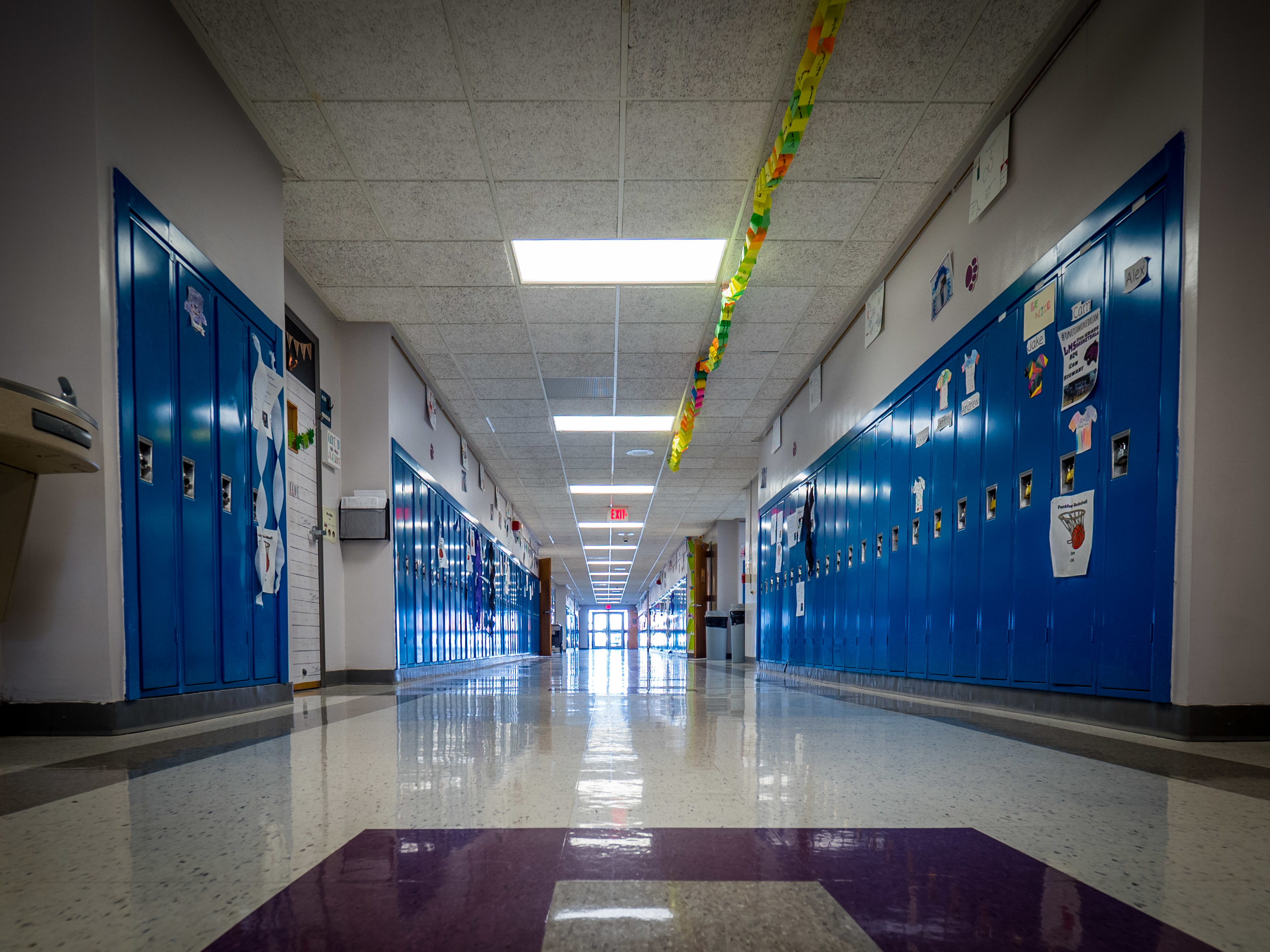 Image of ground floor hallway and lockers at Litchfield Middle School