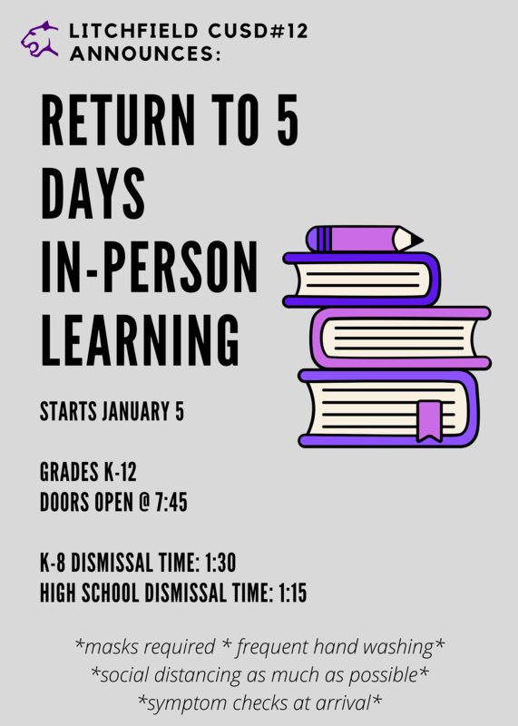 Litchfield Returns to 5 Days In-Person Learning January 5, 2021