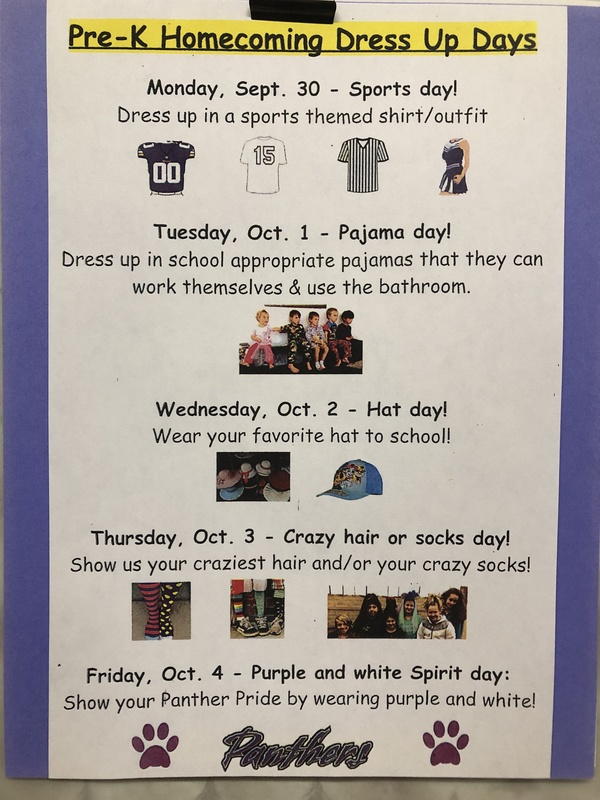 Pre-K Homecoming Dress Up Days